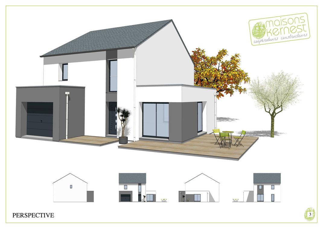 maison moderne à étage avec charpente traditionnelle et toit terrasse avec enduit bicolore gris et blanc