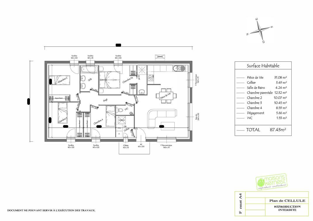 Plan maison plain pied 4 chambres PLAN DE CELLULE