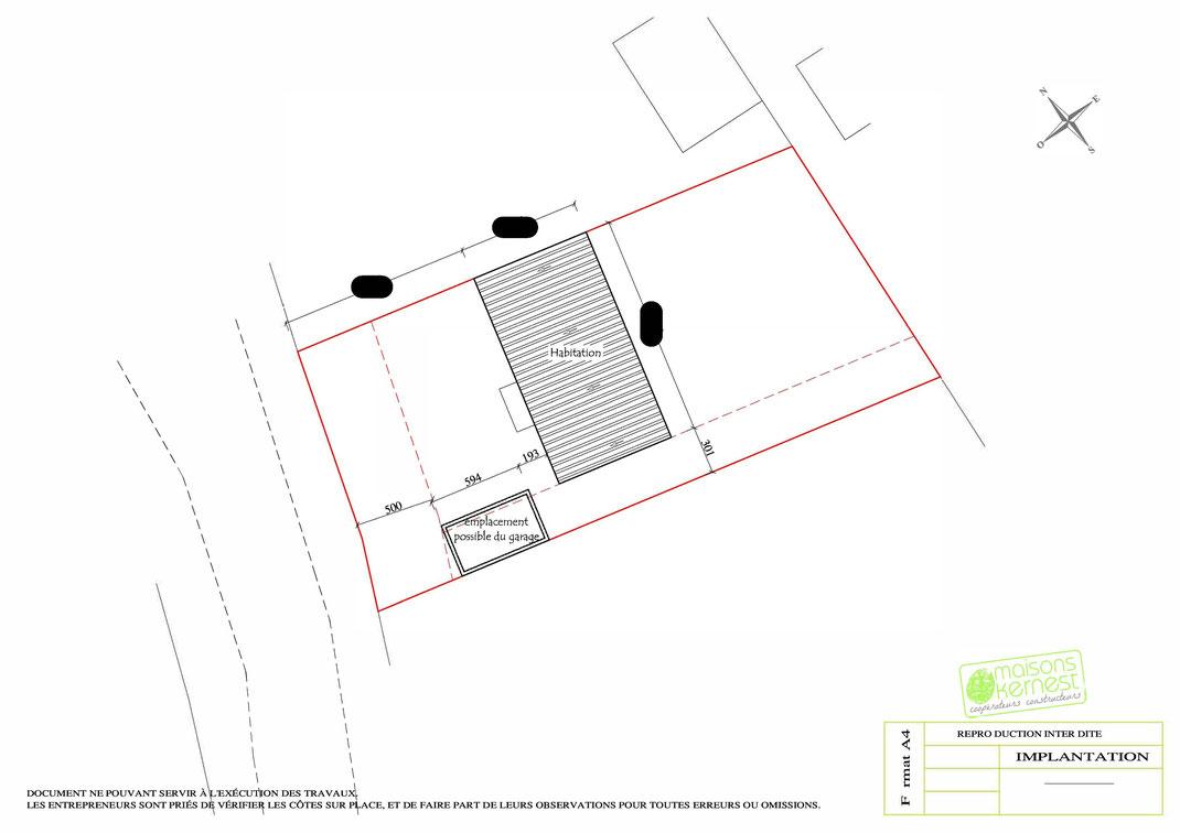 Plan maison plain pied 4 chambres IMPLANTATION maison et garage sur la parcelle