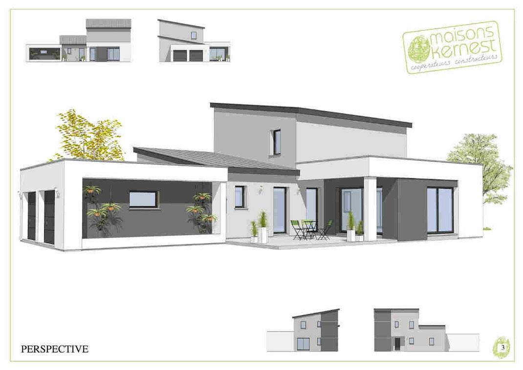 maison à étage, enduit gris et blanc, double garage, toit monopente en zinc ou bac acier
