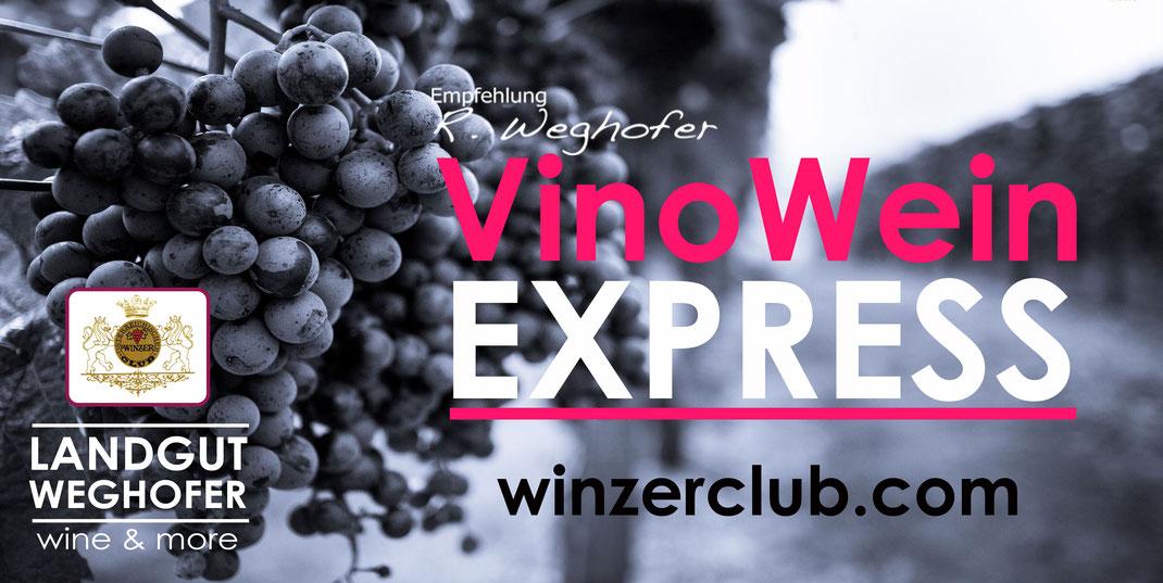 VinoWein, Express, WinzerClub.com, landgut Weghofer, Wine & more, rote Hütte