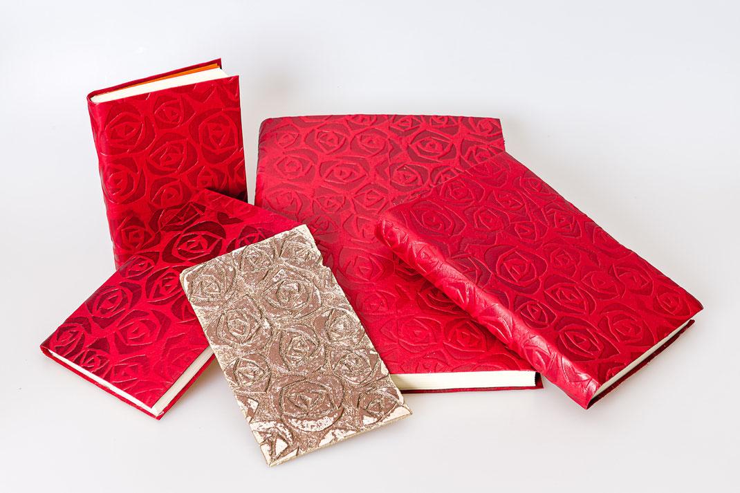 Leerbücher Gästebücher Tagebücher Schreibbücher Linolstempel Prägung