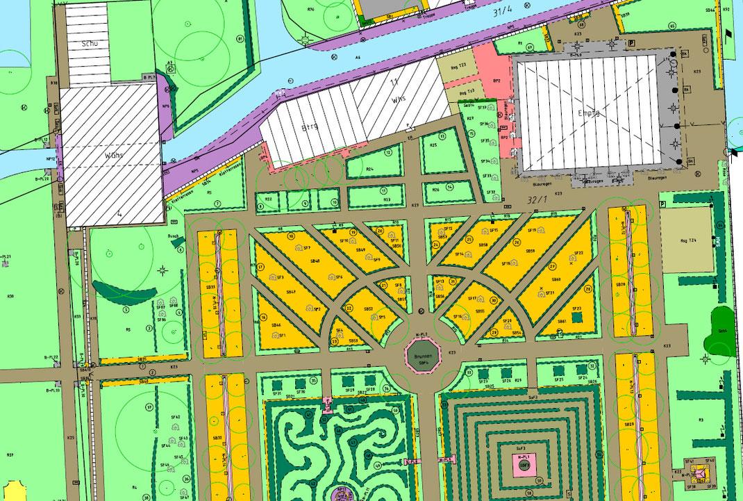 Plan mit detaillierten Unterscheidungen der befestigten Fläche sowie der Grünflächen.