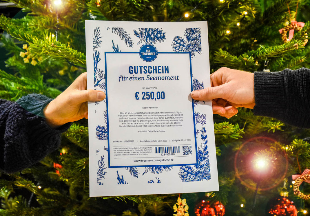Wertgutschein vom Tegernsee ideal als Weihnachtsgeschenk.