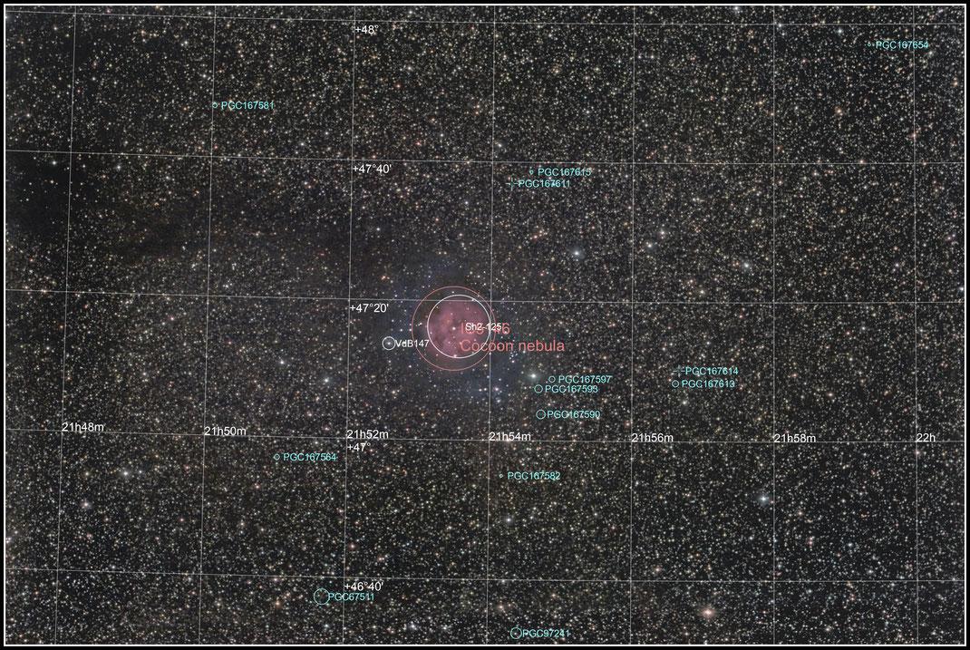 IC 5146, Kokon-Nebel, Collinder 470 - Objektidentifikation - MeixnerObservatorium