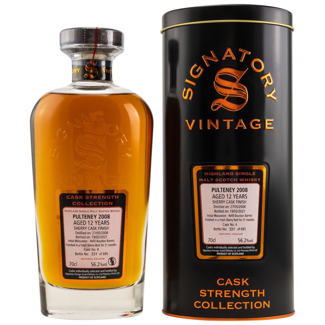 Pulteney 2008/2021 - 12 Jahre - Refill Bourbon Barrels, Fresh Sherry Butt (Finish for 31 months) - Cask:4 - 56,2% vol. Cask Strength