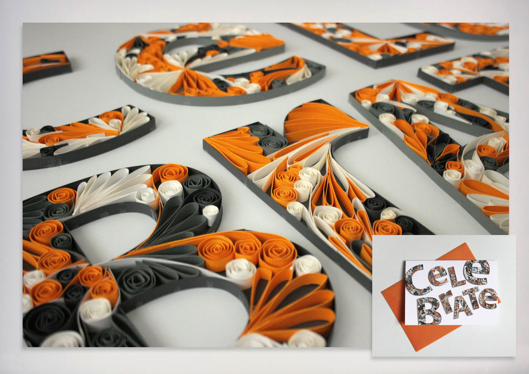Bild: Portfolio Dorina Rundel - Grafikdesignerin: Quilling Fotomotiv Geburtstagskarte