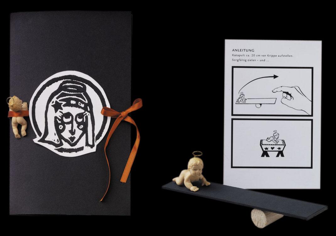 Pop-Up Karte Jesuskind Schleuderbrett Krippe Ochs und Esel Linoldruck handgemacht  Weihnachtsgeschenk Geschenkidee Geschenk