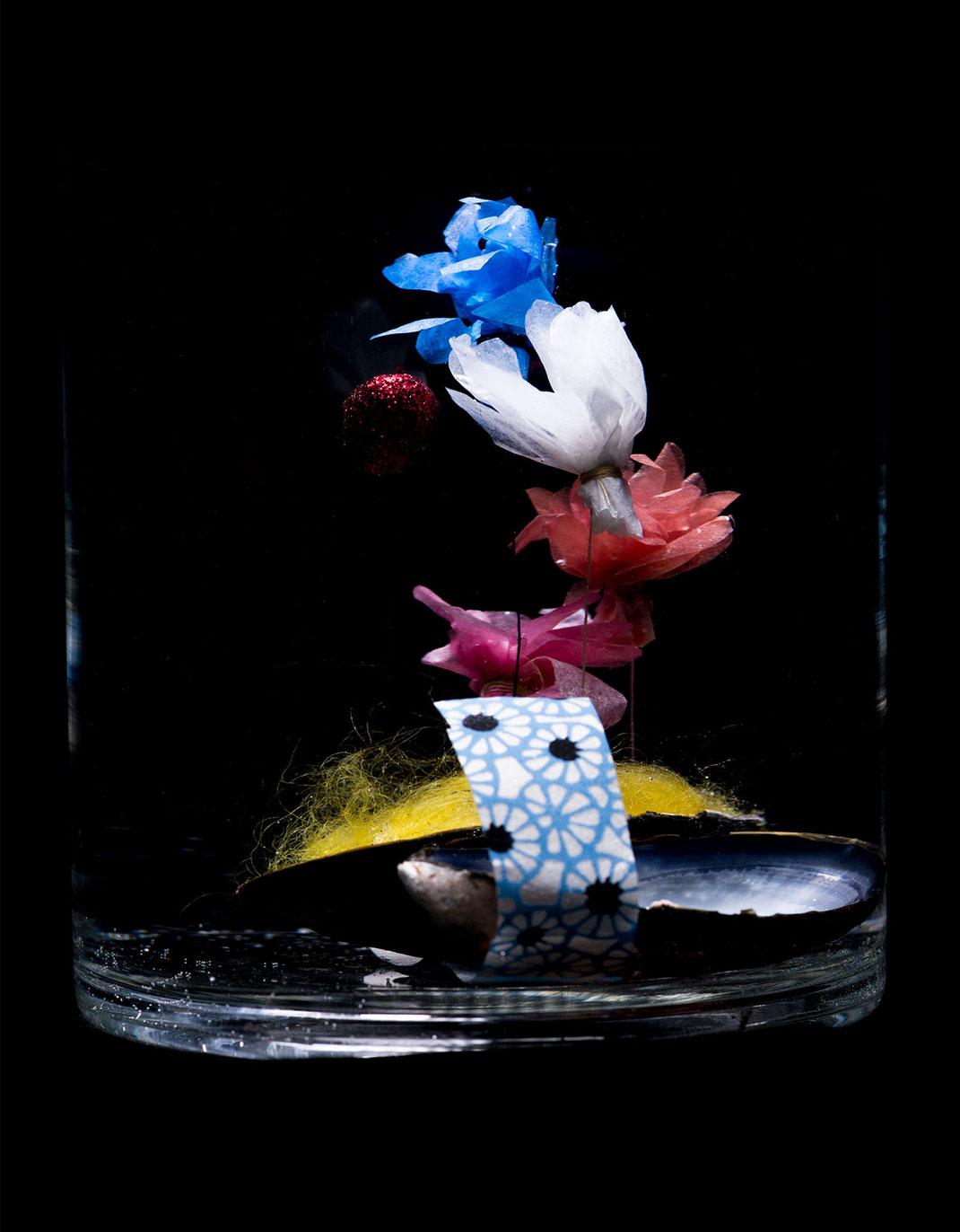 Wundermuschel, handgemacht, Blumen, Seidenpapier  Weihnachtsgeschenk Geschenkidee