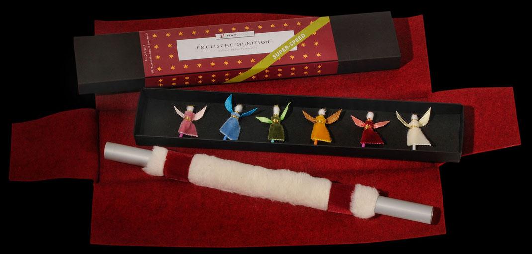 Filz-Etui Pusterohr Engel Munition handgemacht  Weihnachtsgeschenk Geschenkidee Geschenk