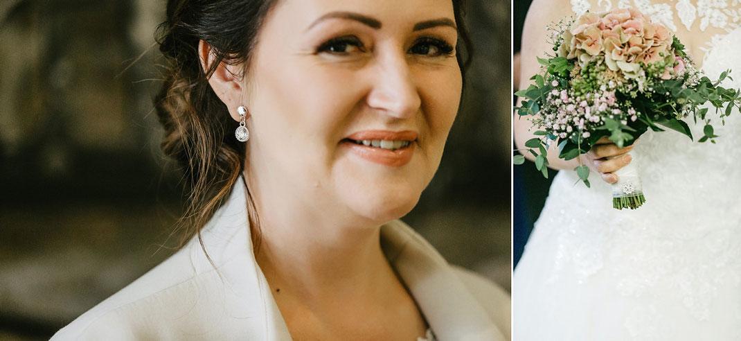 Braut kurz vor der standesamtlichen Trauung im Rathaus Oberwiesenthal