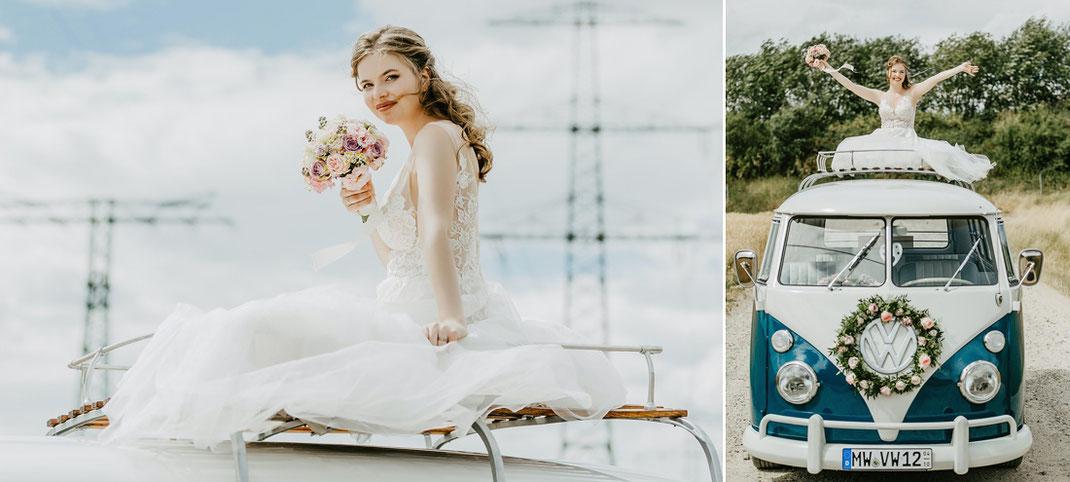 Braut auf VW, VW Bulli Hochzeit, Hochzeitsfotos Bulli, Hochzeit Sachsen Fotograf, Hochzeitsfotograf Sachsen