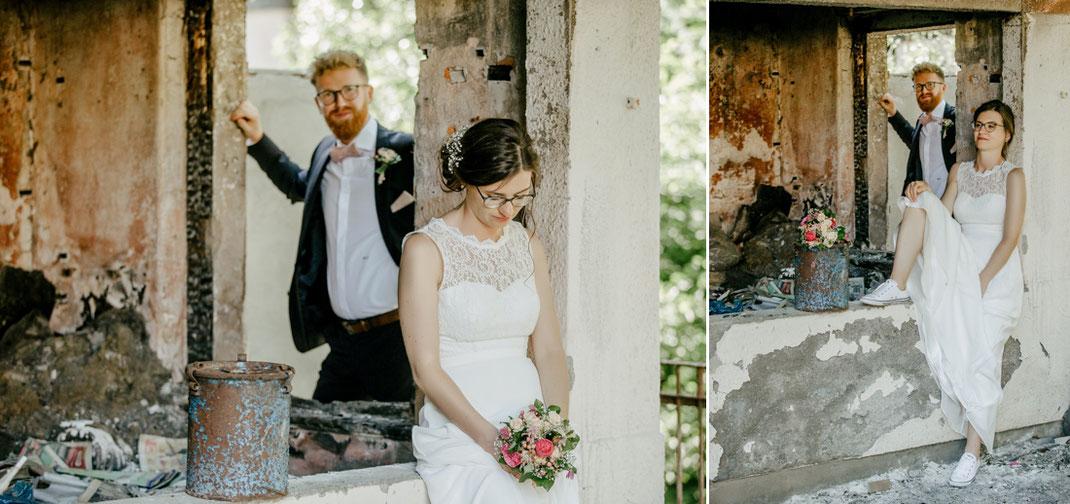 Hochzeitsfotos in alter fabrik