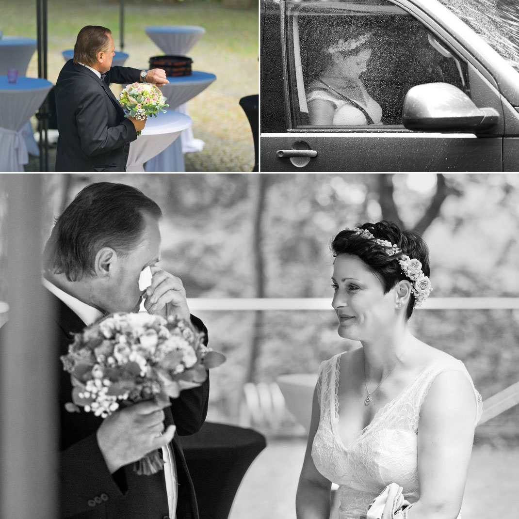 Brautvater, braut mit Brautvater, Trauung, Hochzeit im regen, regen, Hochzeit, first Look,