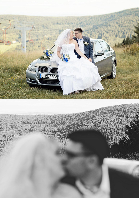 Hochzeit in oberwiesenthal mit fotoshooting auf dem kleinen fichtelberg
