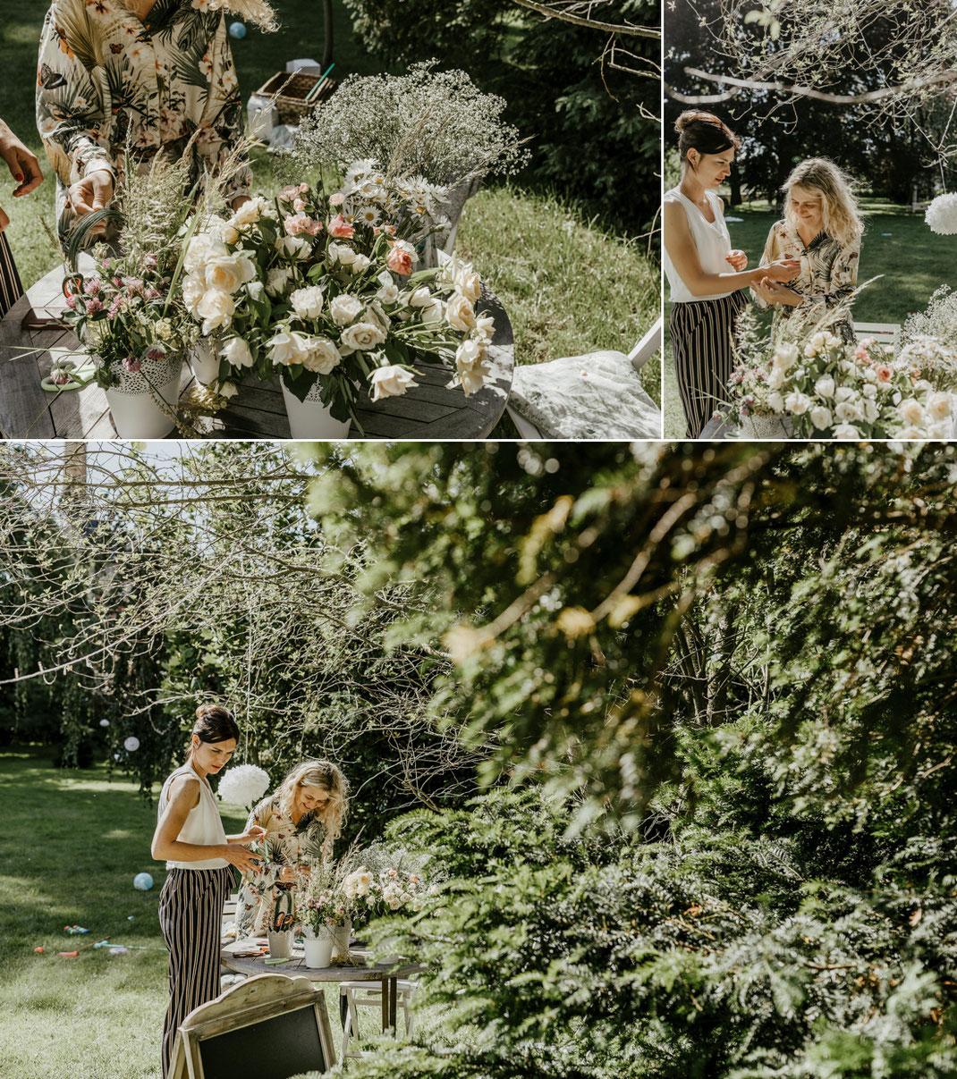 Blumenkränze binden im garten der villa gückelsberg flöha