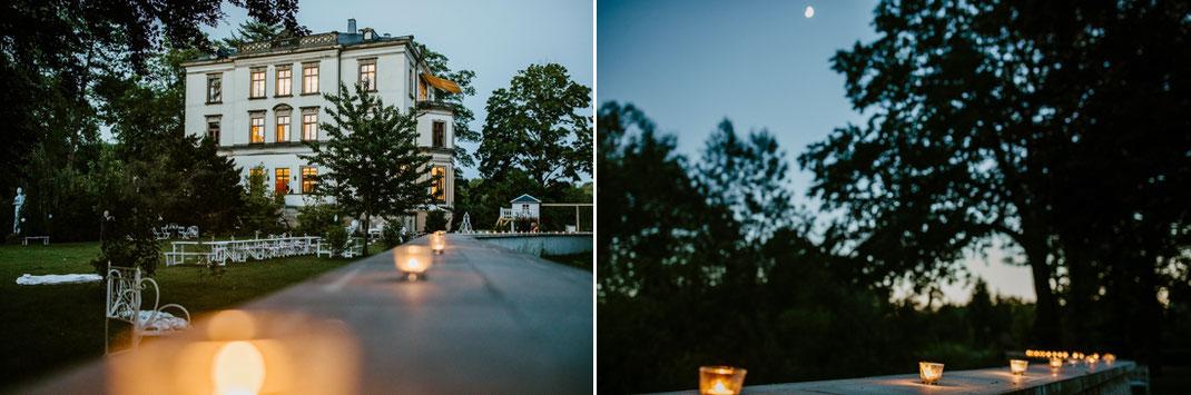 Villa Gückelsberg bei Mondschein und Kerzenlicht