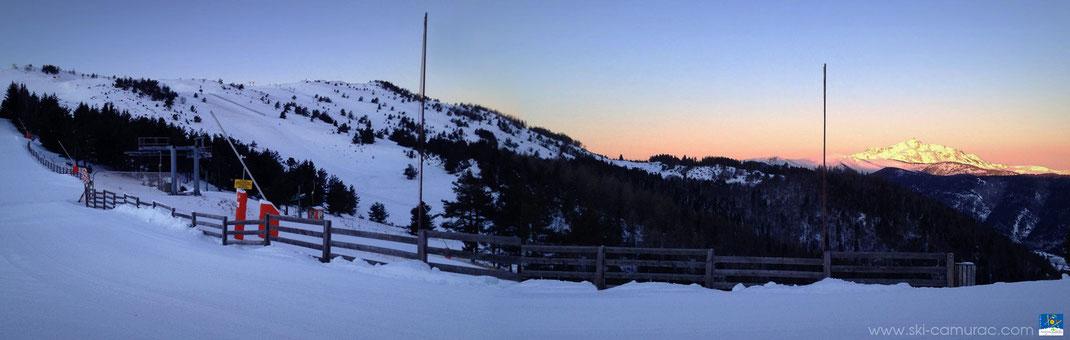 Station de ski de Camurac - Couché de soleil sur les Pics de Soularac et de St-Barthélemy