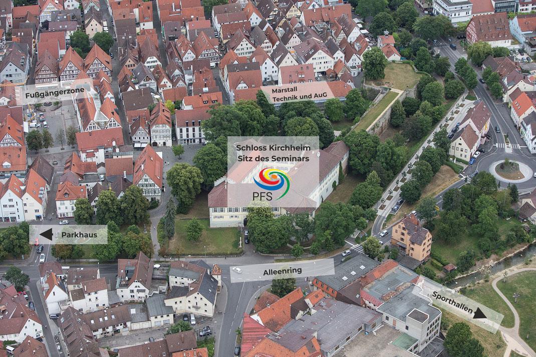 Anfahrt und Lage der Gebäude des Seminars Kirchheim