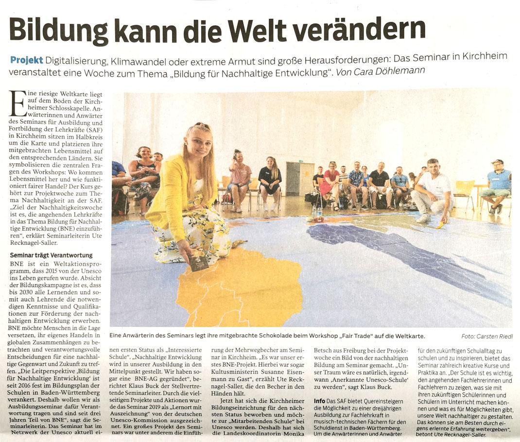 SAF Kirchheim - Bildung für nachhaltige Entwicklung - 1 Woche im Zeichen von BNE