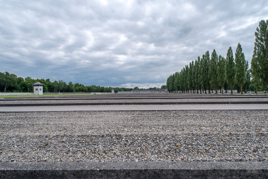 I resti delle fondamenta delle baracche del campo di Dachau