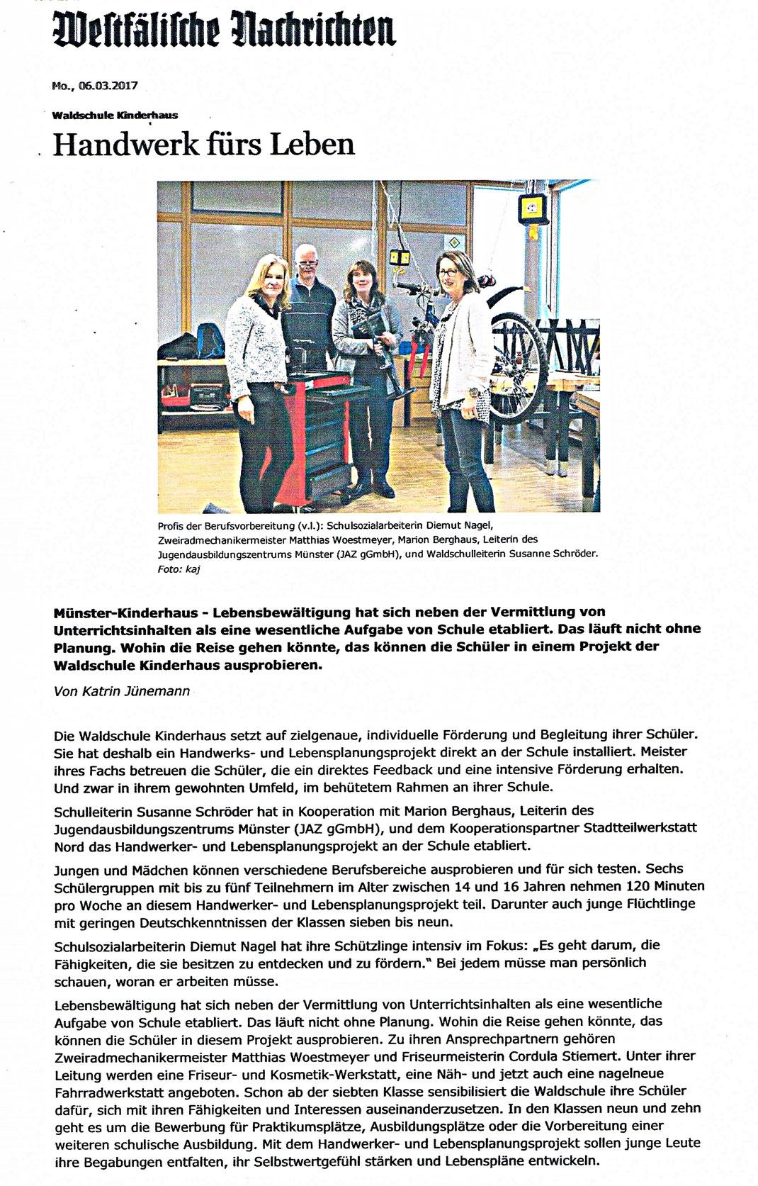 """Bericht der Westfälischen Nachrichten """" Handwerk fürs Leben """" vom 06.03.2017"""
