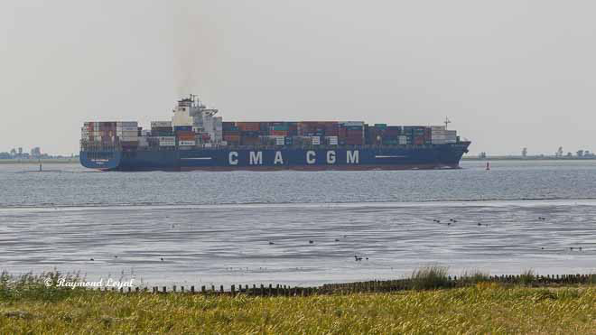 container ship river elbe cma cgm