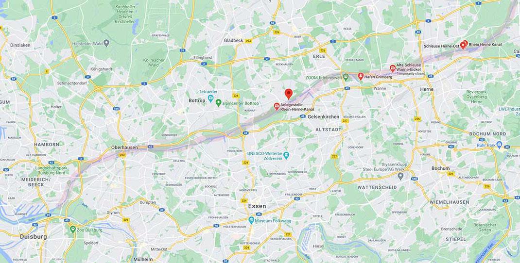 map rhein herne canal