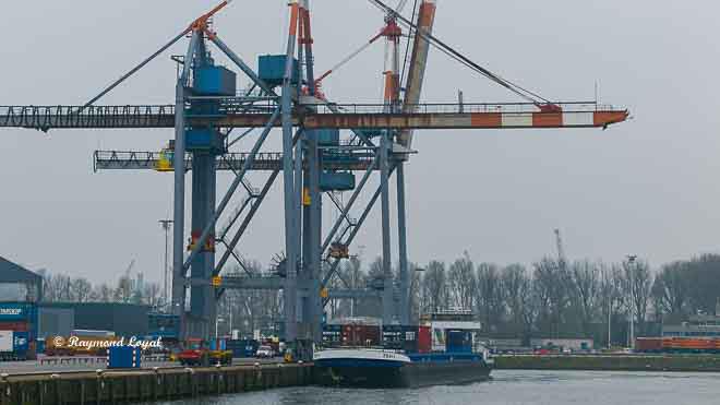 rotterdam waalhaven containerbruecke binnenschiff