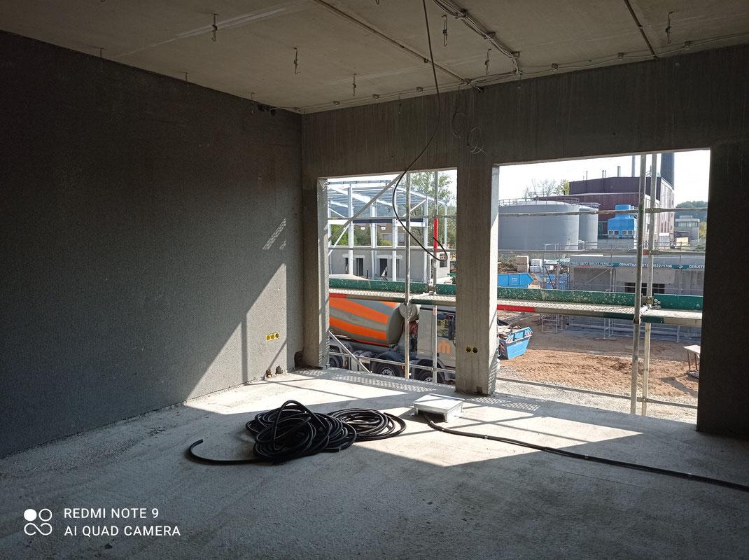Blähton Fertigwände an einer Baustelle in Eltmann