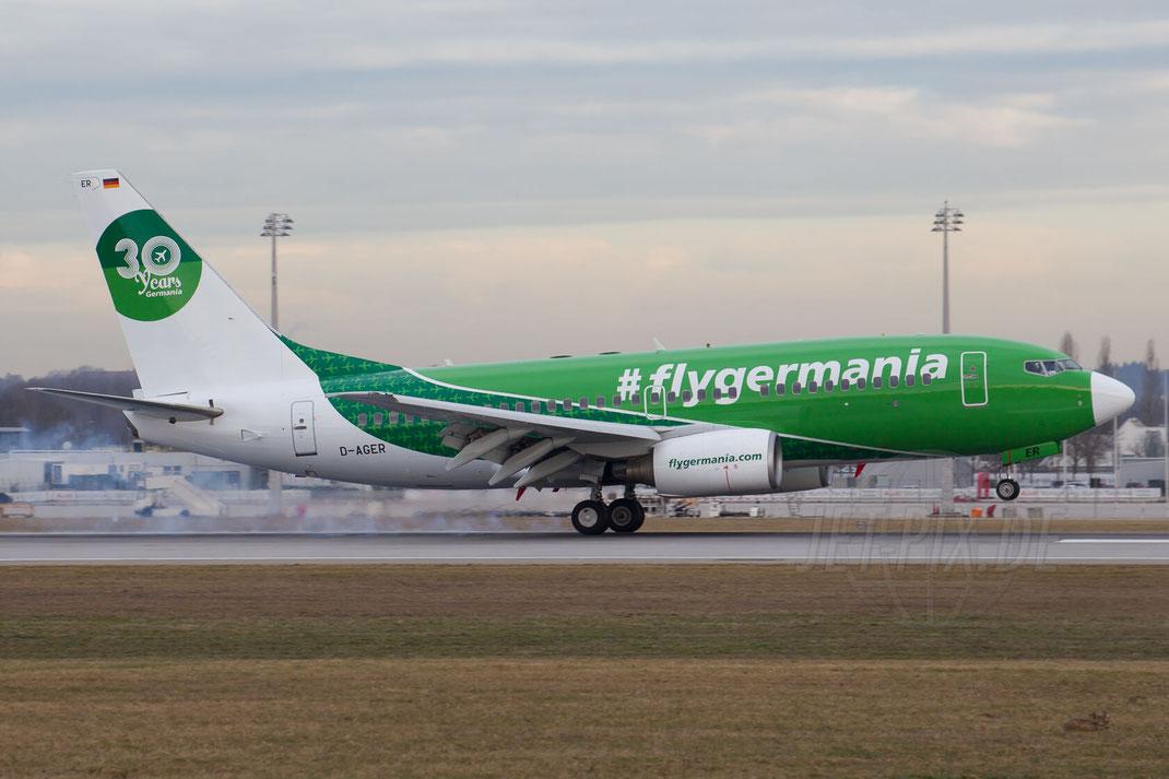D-AGER Germania Boeing 737 2016 02 12 EDDM München Abschiebeflieger Abschiebeflug abgelehnte Asylanten Schüblinge