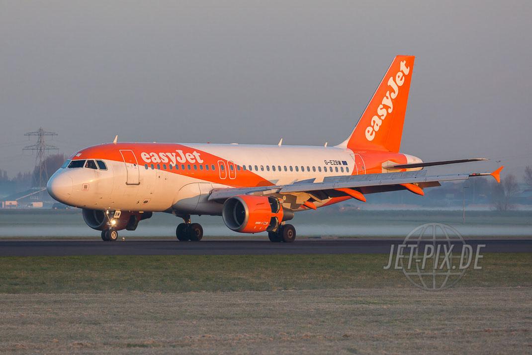 G-EZBW easyJet Airbus A319-111 Amsterdam (EHAM) Landing Polderbaan JET-PIX.DE Schiphol Jetspotter Planespotting Planespotter bestes Wetter Fritten Krokett Lebensgefühl Niederländer Spaß