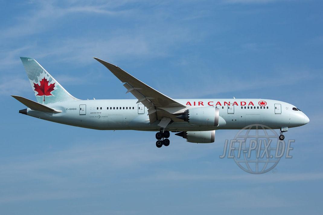 C-GHQQ Air Canada Boeing 787-8 Dreamliner 2017 05 06 EDDF Frankfurt Nordwestbahn Landen Landung Spotting Parken Ticona Leiter Morgens tolles Wetter
