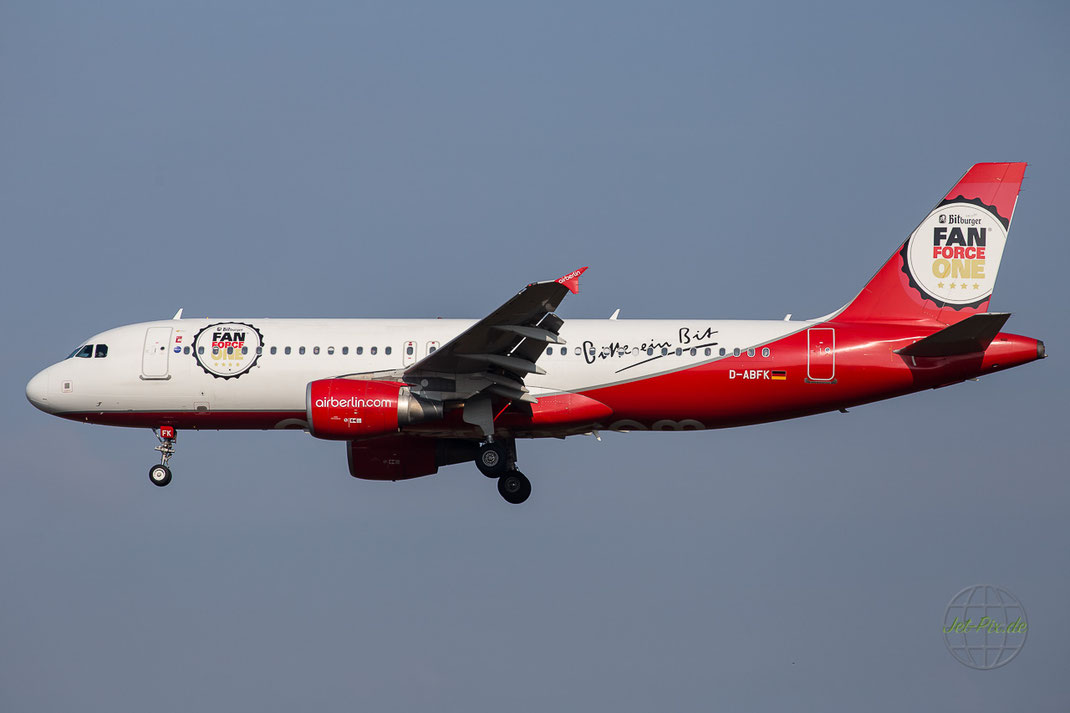"D-ABFK Airberlin Airbus A320-214 ""Bitburger FanForce One"" livery"