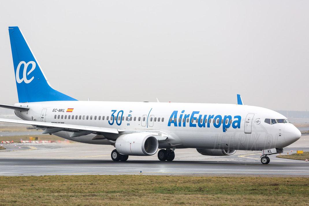 EC-MKL Air Europa Boeing 737-85P(WL) 2018 01 06 EDDF Frankfurt