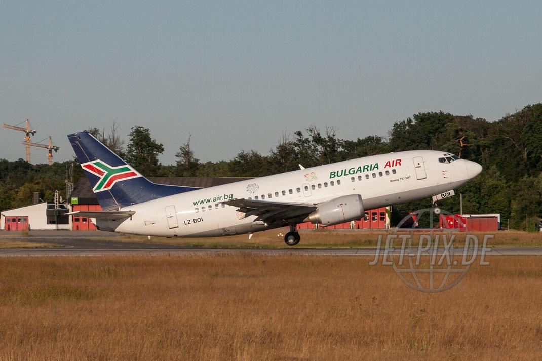 LZ-BOI Bulgaria Air Boeing 737-500 2006 07 19 EDDF Frankfurt -> wurde die D-ABJF, welche mittlerweile gescrapped ist. Startbahn 18 Spotting Spotter Frankfurt Affenfelsen. Beobachtungspunkt