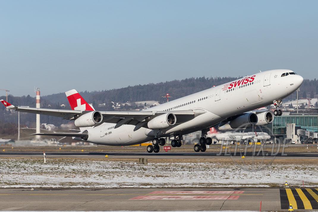 HB-JMH Swiss Airbus A340 2016 01 21 Zürich ZRH