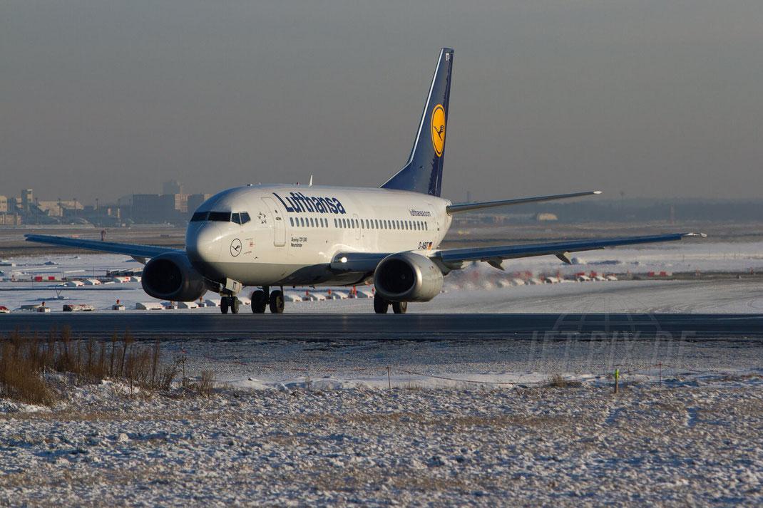 D-ABIT Lufthansa Boeing 737 2012 12 08 EDDF Frankfurt Winter Schnee Snow Weather wetter Sonne bestes Licht Startbahnwest 18 Affenfelsen