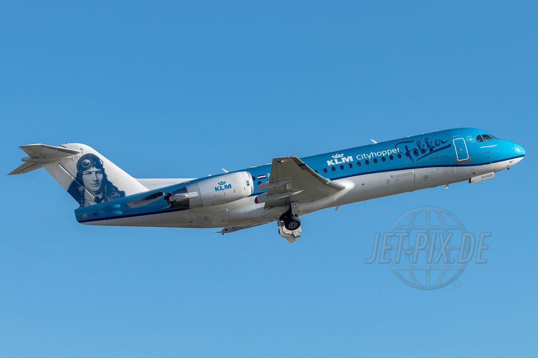 "PH-KZU KLM Cityhopper Fokker ""Thank you Fokker"" F70 2017 07 09 EBBR Brüssel"
