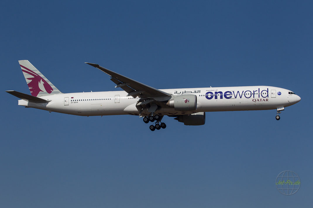 "A7-BAA Qatar Boeing 777-3DZ(ER) ""One World"" livery"