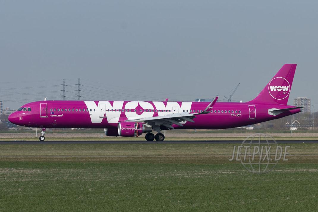 TF-JOY WOW air Airbus A321-211(WL) Amsterdam (EHAM) Landing JET-PIX.DE Schiphol Jetspotter Planespotting Planespotter bestes Wetter Fritten Krokett Lebensgefühl Niederländer Spaß