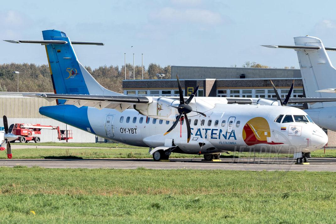 OY-YBT SATENA ATR-42-500 2017 10 14 EDLN Mönchengladbach