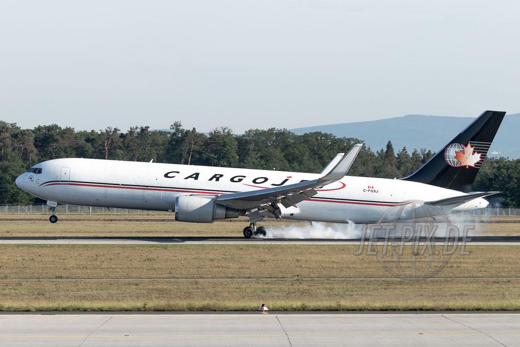 C-FGSJ CargoJet Boeing 767F 2017 05 28 EDDF Frankfurt Landung an der Nordwestbahn bestes Wetter