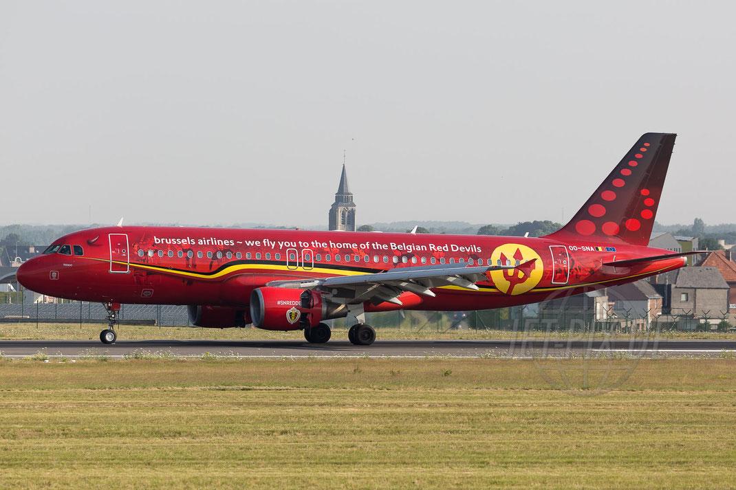"OO-SNA Brussels Airlines Airbus A320-214 ""Red Devils"" 2017 07 07 Brüssel Zaventem (BRU/EBBR)"