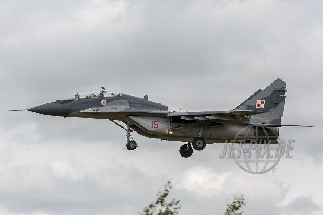 "Rote 19 MIG-29UB Polish Air Force ""Zdzislaw Krasnodebski"" 2017 06 29 ETNG Geilenkirchen Pre-Spottertag 35 Years E3A"