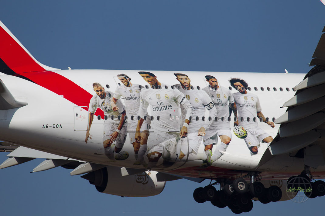 "A6-EOA Emirates Airbus A380- 861 ""Real Madrid FC"" Livery"