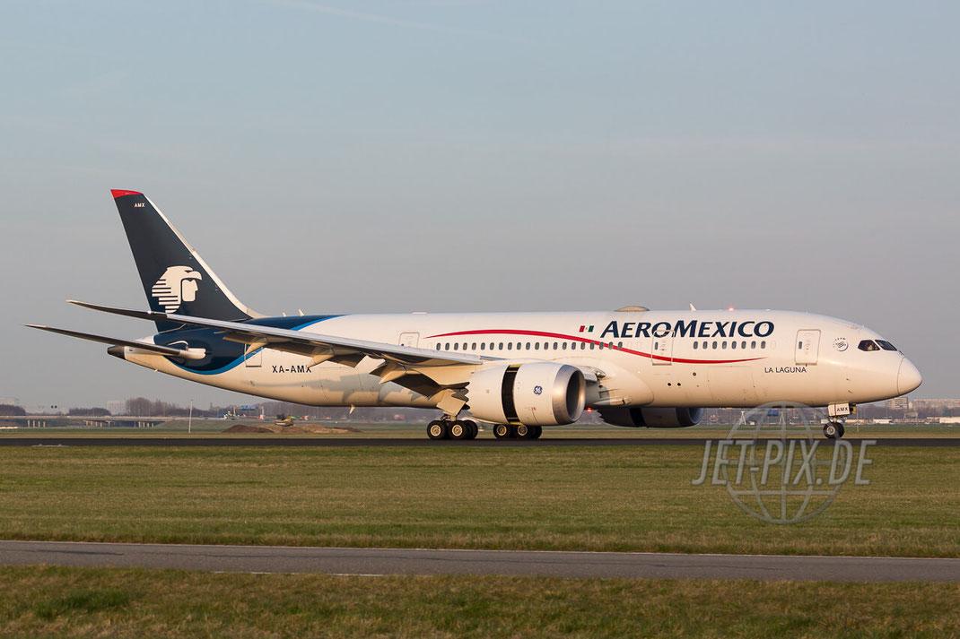 XA-AMX Aeroméxico Boeing 787-8 Dreamliner Amsterdam (EHAM) Landing Polderbaan JET-PIX.DE Schiphol Jetspotter Planespotting Planespotter bestes Wetter Fritten Krokett Lebensgefühl Niederländer Spaß