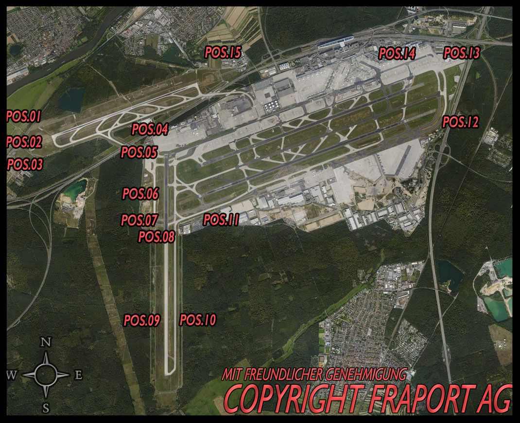 Spotting Guide Flughafen Frankfurt / Vielen Dank für die Bereitstellung der Karte an die FraPort AG Spotting Start Landung 25 07 18 Affenfelsen Startbahn West Zeppelinheim Besucherterrasse