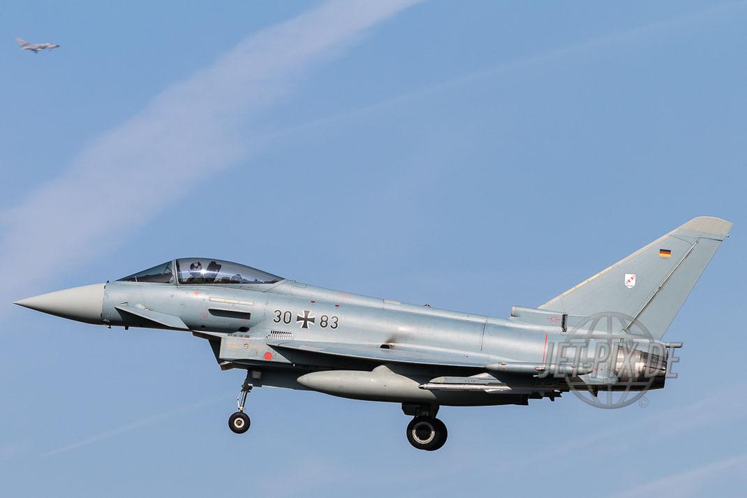 30+83 Deutsche Luftwaffe Eurofighter EF-2000 Typhoon Landeanflug auf Nörvenich ETNN bestes Wetter Eurofighter der deutschen Luftwaffe in Aktion Spotter Spotting