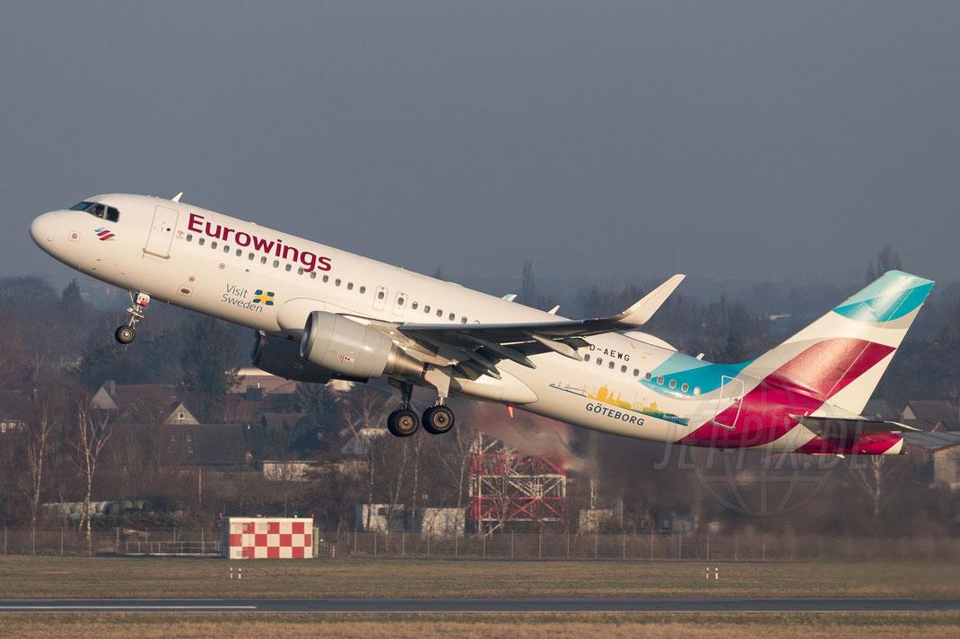 "D-AEWG Eurowings Airbus A320 ""Visit Göteborg"" 2018 02 18 EDDL Düsseldorf"